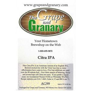 Citra IPA:  All Grain