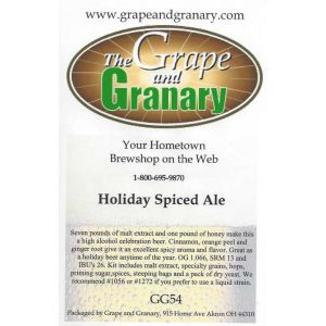 Holiday Spiced Ale- G & G