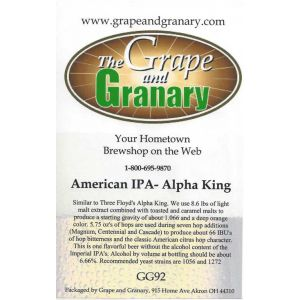 American IPA (Alpha King): GG